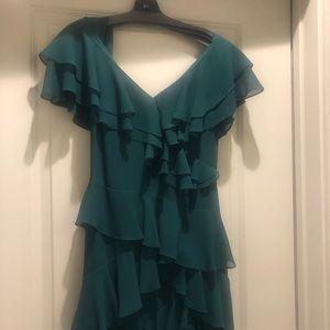 V-neck Flutter Ruffle Gown emerald